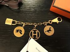Auth Hermes GOLD Berloque Olga Rodeo Bag Charm Horse Cadena for Birkin Kelly