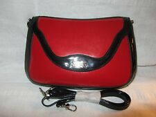 SERENADE GENUINE PATENT LEATHER SMALL HAND BAG new tag red - black