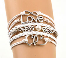 Cute LOVE Wings Heart Charms Leather Rope Fashion Infinity Friendship Bracelet