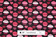 Valentine's Day Hearts Cupcakes Silver Glitter Cotton Fabric  BTY  (D1)