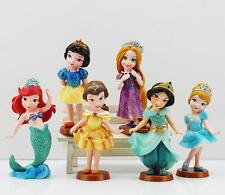 6 pcs Set Disney Princess Snow White Cinderella 10cm Action Figures Cake Toppers