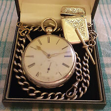 Heavy Gauge,1859,Silver Fusee,Gold Hinges,Pocket Watch,Albert Chain & Vesta set