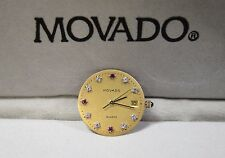 MOVADO Zenith 11.6 Quartz Date Movement With Gold diamond & Ruby Applied Dial