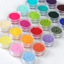 24pcs Colors Nail Art Glitter Velvet Flocking Powder for Acrylic liquid UV Gel