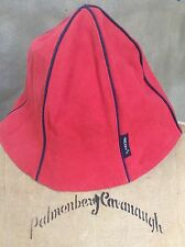 ARMANI JEANS ITALY Tomato RED CANVAS HAT Navy Piping Trim RARE TULIP Bell
