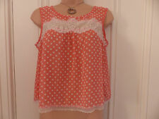 River Island size 8 pink and beige sheer dotty vest top with lace and open back