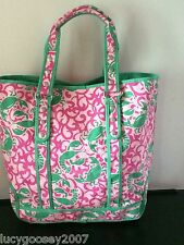 "BRAND NEW LL BEAN LARGE 20"" CANVAS TOTE BAG in PINK & GREEN LOBSTER CRAB PATTERN"