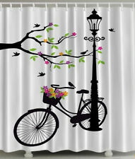 "Black White Green Tree Leave Bicycle Polyester Fabric Shower Curtain 70"" W Hooks"