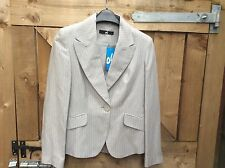 NEW BY OLI LIGHT GREY  PINSTRIPE LINEN MIX LONG SLEEVED BOX JACKET SIZE 10
