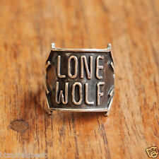 DON BIU Mens Oxidised Lone Wolf Solid Sterling Silver Ring Man Boho Gift Unique