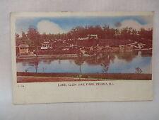 VINTAGE POSTCARD THE LAKE AT GLEN OAK PARK IN PEORIA ILLINOIS 1908
