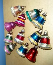 12 VINTAGE SHINY BRITE GLASS SOLID STRIPE BELL CHRISTMAS TREE ORNAMENTS WITH BOX