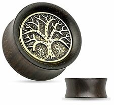 NEW Tree of Life Organic Ebony Wood Saddle Tunnel Ear Plugs Ear Gauges 10MM 00GA