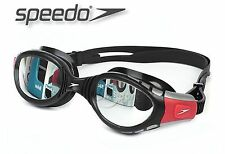 SPEEDO FUTURA BIOFUSE MIRROR ADULT SWIMMING GOGGLES ANTI-FOG BLACK/RED