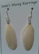Childrens Natural Duck Feather Earrings In 25 Colours 925 Sliver Hooks HandMade