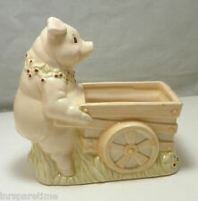 APPLAUSE HAND PAINTED CERAMIC PIG & CART PLANTER