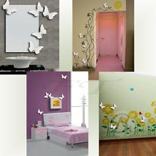 New 5 Pics Acrylic Mirror Wall Stickers Butterfly Kids Room Decor Shaped Decals