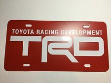 Red White TRD Toyota Racing Development Plastic License Plate Tag Vanity