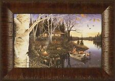CLOSING TIME by Mark Daehlin Autumn Log Cabin Lake 11x15 FRAMED PRINT PICTURE