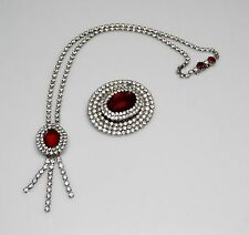 Vintage Kramer of NY STRIKING Clear/RED ALL Rhinestone Brooch/Pin & Necklace