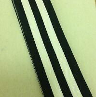 St John Long Service Medal Ribbon, Full Size, Black & White, Ambulance, 10""