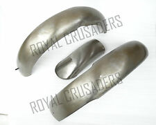 NEW NORTON ES2 FRONT AND REAR MUDGUARD SET RAW STEEL (REPRODUCTION) (CODE725)