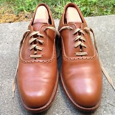 MADE IN USA KEITH HIGHLANDERS LEATHER BUSINESS OXFORD BALMORAL SHOES 8 D TAN