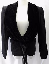 YVES SAINT LAURENT RIVE GAUCHE Womens JACKET VINTAGE Black Velvet Collar SZ 40