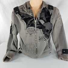 Dragonfly Clothing Skull Black Gray Embroidered Hoodie Sweatshirt Jacket Size M