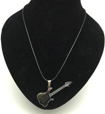 Fashion Jewelry White Guitar Pendant Stainless Steel Charm Black Necklace Gift#3