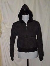 UGG BLACK LEATHER BOMBER JACKET WOMENS SZS/P FAUX FUR LINED HOOD POCKETS ZIP EUC
