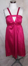 Hugo Boss Dress Size 6 Dark Pink Keyhole Sateen Cotton Tie Waist Casual