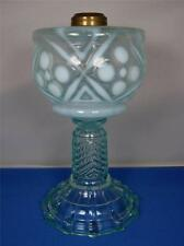 King Melon Opalescent Dots and Crosses Kerosene Oil Lamp ca. 1890