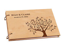 Custom Engraved Name On Wood A4 Tree Of Life Love Birds Wedding Guest Book Gifts