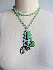 Green Beaded Statement Necklace w/ Hanging Charms David Aubrey Anthropologie