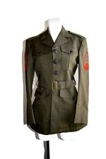 Vintage  Military Coat Marine Wool Serge Green Halloween Costume Small