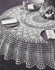 "Vintage Crochet Pattern to make Pineapple Petals Design Round Tablecloth 72"" PP"