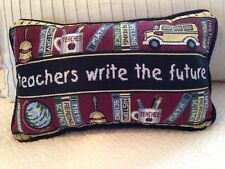 Teachers Write the Future school bus book ruler Small accent Tapestry Pillow NEW