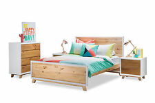 Scandinavian Retro Inspired Solid Natural Timber Pine Queen Size Bed Frame Only