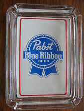 Pabst Blue Ribbon Beer Card & Glass Ashtray  Key , Ring , Change or Candle Tray