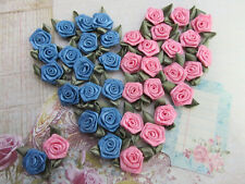 60 Pre-made Vintage Blue/Old Rose Pink Satin Ribbon Rose Flower/Trim/Craft F57