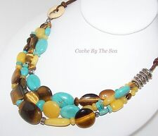 Retired Silpada Turquoise Silver Tigers Eye Quartz Chunky Bead Necklace N1858