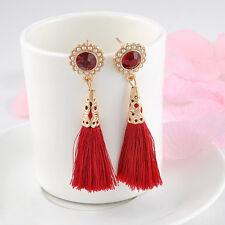 New Women Ladies Fashion Vintage Silk Yarn Long Tassel Fringe Dangle Earrings