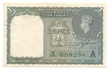 British India,1940,Rupee 1 XF Note,Inset A,Prefix M,Serial No in Green,C.E.Jones