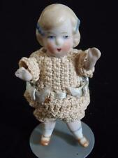 """Antique German Mignonette All Bisque doll 3.25"""" tall"""