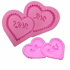 MR and MRS Double Love Heart  Wedding Silicone Sugar Chocolate Cake Mould Mold