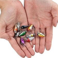 New 10Pcs Fishing Lures Kinds Of Minnow Fish Bass Tackle Hooks Baits Crankbait
