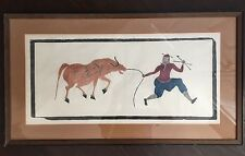 Fine Old Antique Chinese Ink Rubbing Farmer Ox Colorful Unique Abstract Art NR