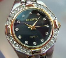 Nice Gruen Ladies Watch model GR7371 unworn Silver plated,Black face
