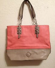 Simply Vera Vera Wang Coral Orange Tan Purse Shopper Tote Shoulder Bag